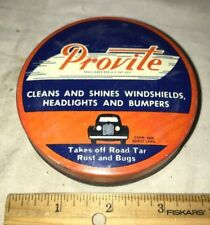 ANTIQUE PROVITE VINTAGE 1936 CAR CLEANER TIN LITHO CAN ANGOLA IN GAS OIL STATION