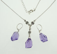 Avon Vintage Purple Faceted Y Necklace & Earrings Set Silver Tone Jewelry