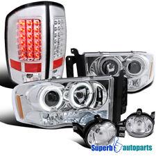 2002-2005 Ram Chrome Projector Headlights+Clear LED Tail Lights+Bumper Fog Lamps
