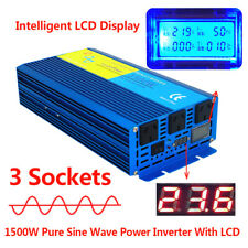 1500w 3000w pure sine wave power inverter DC 24v to AC 240v truck converter LCD