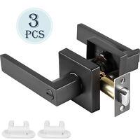 3pcs Door Handles Matte Black Door Knobs Door Lever Lock Privacy Bed/Bathroom