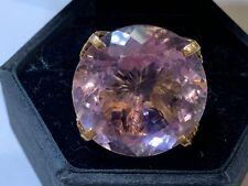 "14k yellow gold massive 1.25"" cut amethyst ring 37 grams size 7.5"