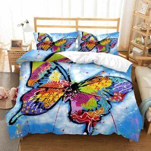 3D Cartoon Butterfly Bedding Set Doona Comforter Cover Duvet Cover Pillow Case