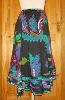 POMODORO black green blue purple pink floral gypsy boho midi riding skirt 14 42