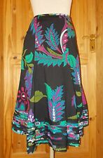 POMODORO black green blue purple pink floral gypsy boho midi riding skirt 14 42
