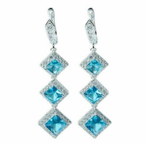 Elegant 925 Silver Drop Earrings for Women Blue Sapphire Jewelry A Pair/set