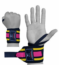 ISLERO Ladies Elasticated Gym Straps Weightlifting wrist Support Wraps Gloves