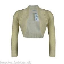 Ladies Long Sleeve Cropped Bolero Knitted Lurex Shrug Sparkly Top Plus Size 8-16 Cream Ml 12-14