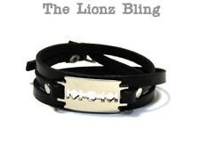Gothic Punk Black Triple Wrap Leather Bracelet with Chrome Razor Blade