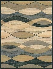 8X10 Area Rug Rugs New Modern Abstract Wavy Waves Black