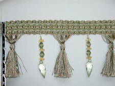 "4.5"" Luxury Tassel Fringe Bead Trim Gold Olive Brown Wholesale 50 Yards"
