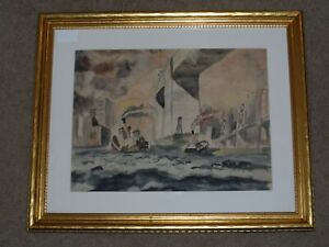 FRANK WHITE ARTIST SIGNED ORIGINAL WATERCOLOR PAINTING OF BOATS LANDSCAPE