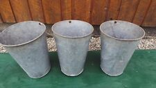 VINTAGE 3 Maple Syrup OLD Galvanized Sap TAPERED Buckets Planters
