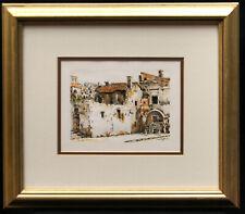 """""""Villagio"""" Original Signed Framed Matted Mixed-Media Illustration 17""""x19"""" B0369"""