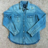 AMERICAN EAGLE Chambray Western Shirt Snap Closure Size M Slim Fit