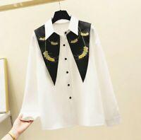 Ladies White Designer  Large Black Dagger Collar Summer  Gold Blouse Shirt 8 10