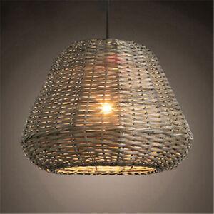 Bamboo Wicker Rattan Shade Pendant Light Fixture Restaurant Vintage Ceiling Lamp