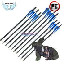 16/17/18/20/22 inch Crossbow Bolts Carbon Shaft Arrow w/Removable Arrowhead/Tip
