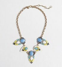 NWT J Crew Stone Oval Necklace Bright Hydrangea Blue Yellow White Turquoise Gray