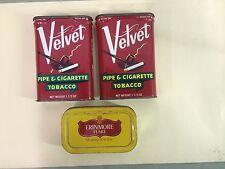 Vintage Empty Tobacco Tins 2 Velvet 1 Erinmore Flake Tin. M