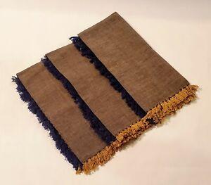 Set of 3 Pottery Barn 100% Cotton Cloth Dinner Napkins Blue & Gold Fringe India
