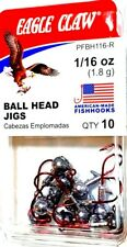 Eagle Claw 1/16 oz (1.8g) Unpainted Ball Head Fishing Jigs RED Hooks (#WBH116-R)