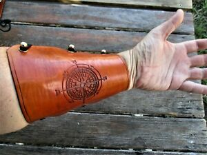 Personalized Leather Archery Arm Guard, Bracer Rose Compass