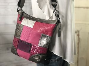 COACH 12863 Patchwork Pink MultiColor Leather Bleecker Bucket Hobo Shoulder Bag