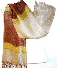 Echarpe Foulard Châle Étole Femme Style Pashmina marron beige jaune blanc