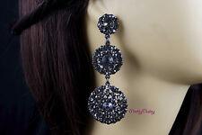 Black Wedding Bridal Prom Party Crystal Rhinestone Chandelier Dangle Earrings