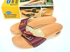Vintage Original Dr Scholls Exercise Sandals Wood Leather Austria Burgundy Nib 7