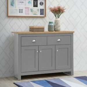 Sideboard 3 Doors 2 Drawers Buffet Storage Cabinet Cupboard Light Grey