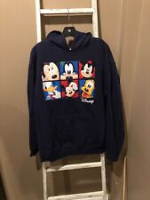 Disney Mickey Mouse Goofy Donald Duck Pluto Navy Pullover Sweater Hoodie Large