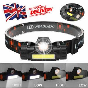 Super Bright Waterproof LED Headlamp Head Torch USB Rechargeable COB Headlight