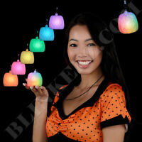 HALLOWEEN Pumpkin Color Changing LED Flashing Necklace Light Up Fun!