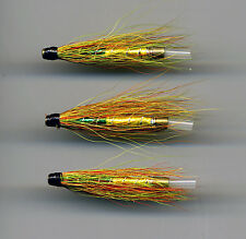 Tube Flies: Green Highlander. 38mm long all brass tube x 3 (Code 538)
