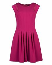 TED BAKER pink fit & flare pleated full skirt skater dress wedding party 4 14 L