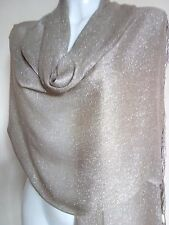 NEW GLITTER SCARF TAUPE SCARVES SHAWLS STOLE SHAWL PASHMINA WRAP PARTY COVER UP