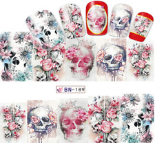 Nail Art Sticker Water Decals Transfer Stickers Halloween Skulls Flowers (BN189)