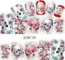 Nail Art Sticker Water Decals Transfer Stickers Halloween Skulls Flowers (BN189)