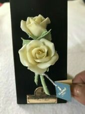 """Retired Lladro Flores Rosa """"Peace"""" mounted Yellow Rose"""