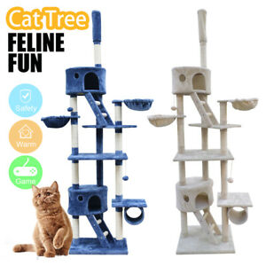 Cat Tree Scratching Pole Tower Condo Kitty Activity Bed Stand Scratcher 260CM AU