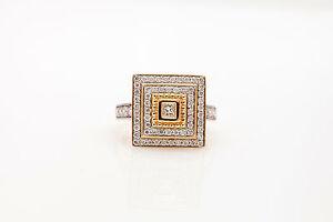 Designer Etruscan $5000 1.50ct Princess Cut Diamond HALO 14k Yellow Gold Ring