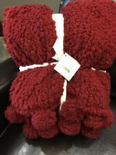"""NEW Pottery Barn Cozy POM POM knit throw blanket Cardinal Red 50"""" X 60"""" SOLD OUT"""