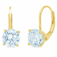 1CT Round Cut Drop Dangle Natural Aquamarine 18k Yellow Gold Earrings Lever Back