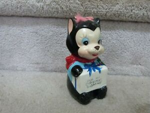 VINTAGE Figural Ceramic Coin Bank Cat Kitten For My Christmas Shopping Japan