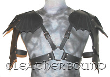 Gothic Black Leather shoulder Armor Pauldrens. LOTR, LARP, Cosplay, SCA, Gothic