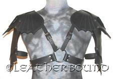 Gothic Black Leather shoulder Armor Pauldrens. LOTR, LARP, Cosplay, SCA, Gothic