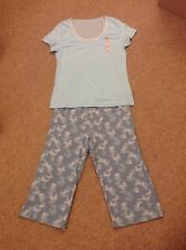 MARKS AND SPENCER LADIES BLUE BUTTERFLY COTTON PYJAMA SET SIZE 8-10 BNWT