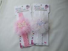 Los bebés Paquete de 2 Bandas Elástico Kylie detalle de brillo Teddy Net Blanco Y Rosa